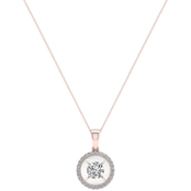 Magnificence 10K Gold 1/4 CTW Round Diamond Halo Pendant 18 In.