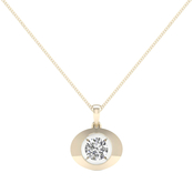 Magnificence 10K Gold 1/10 CTW Round Diamond High Polished Oval Pendant 18 In.