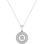 Magnificence 10K Gold 1/2 CTW Round Diamond Double Halo Pendant 18 In.