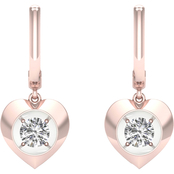 Magnificence 10K 1/6 CTW Heart High Polished Earrings
