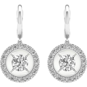 Magnificence 10K Gold 1/3 CTW Round Diamond Halo Earrings
