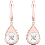 Magnificence 10K Gold 1/6 CTW Round Diamond Pear Earrings
