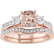 Sofia B. 10K Rose Gold Morganite Sapphire 1/7 CTW Diamond 3 Stone Bridal Set