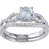 Sofia B. 10K White Gold Aquamarine and 1/6 CTW Diamond Bridal Set