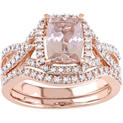 Sofia B. 10K Rose Gold Morganite and 1/4 CTW Diamond Crossover Halo Bridal Set