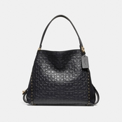 COACH Edie Shoulder Bag 31 In Signature Leather with Border Rivets