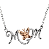 Sterling Silver Rose Plated Diamond Accent Mom Necklace