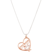 Rose Goldtone Sterling Silver Mom Heart Necklace