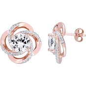 Sofia B. White Topaz Love Knot Swirl Stud Earrings in Rose Plated Sterling Silver