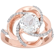Sofia B. White Topaz Love Knot Swirl Ring in Rose Plated Sterling Silver