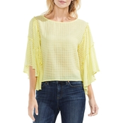 Vince Camuto Textured Grid Drop Shoulder Ruffle Sleeve Blouse
