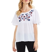 Vince Camuto Drop Shoulder Crinkle Cotton Embroidered Blouse