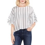 Vince Camuto Tiered Ruffle Stripey Detail Blouse