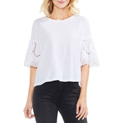 Vince Camuto Drop Shoulder Ruffle Lace Eyelet Sleeve Tee