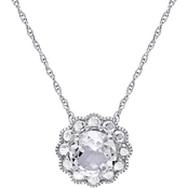Sofia B. 10K White Gold White Topaz Halo Flower Necklace, 17 In.