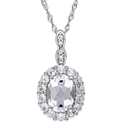 Sofia B. 14K White Gold White Topaz & Diamond-Accent Halo Vintage Necklace 17 In.