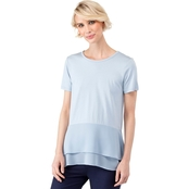 Michael Kors Petite Solid Woven Double Hem Top
