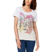 Karen Scott Petite Cotton Garden Print Top