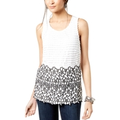 INC International Concepts Petite Colorblocked Lace Top