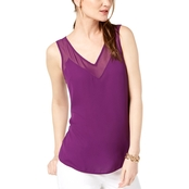 INC International Concepts Petite Illusion-Trim Tank Top