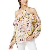 INC International Concepts Petite Floral-Print Cold-Shoulder Top