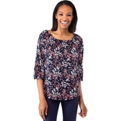 Michael Kors Petite Scattered Blooms Peasant Top