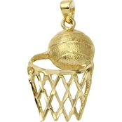 10K Gold Basketball And Hoop Charm