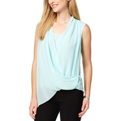 Alfani Draped Surplice Lace Up Top