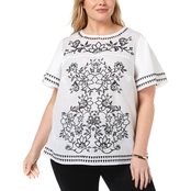 Charter Club Plus Size Cotton Embroidered Top