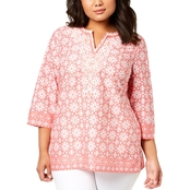 Charter Club Plus Size Cotton Beaded Tunic