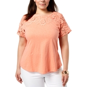 Charter Club Plus Size Cotton Crochet-Detailed Tee