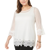 Alfani Plus Size Knit Crochet Lace Top