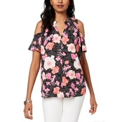 Charter Club Printed Cold Shoulder Top