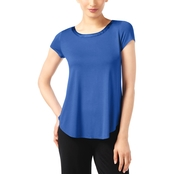 Alfani Petite Satin Trim High Low Tee