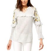 Style & Co. Cotton Embroidered Top