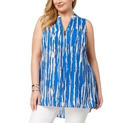 Alfani Plus Size Printed Zipper Neck Top