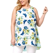 Alfani Plus Size Floral-Print High-Low Top