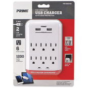Prime Wire & Cable 6 Outlet 1200 Joule Surge Tap with 2 Port 3.4A USB Charger