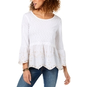 Style & Co. Embroidered Peplum Bell Sleeve Top
