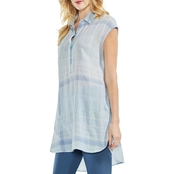 Vince Camuto Plaid Manor Henley Tunic