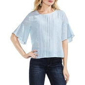 Vince Camuto Ruffle Sleeve Crinkle Cotton Embroidery Blouse