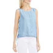 Vince Camuto Shirting Tencel Blouse with Lace Up Sides