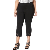 INC International Concepts Plus Size Lace-Contrast Capri Pants