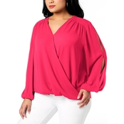 I.N.C. International Concepts Plus Size Surplice Neck Split Sleeve Blouse