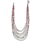Jules B. Americana Seedbead Hammered Frontal Short Necklace