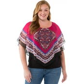 AGB Plus Size Medallion Print Popover Blouse