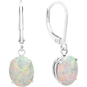 14K White Gold Oval Created Opal Leverback Earrings