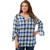 Status by Chenault Plus Size Woven Plaid Asymmetrical Top