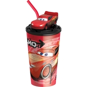 Zak Cars 3 Plastic Funtastic Tumbler with Straw, Lightning McQueen