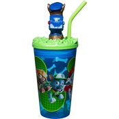 Zak Paw Patrol Plastic Funtastic Tumbler with Straw, Chase, Rocky & Marshall